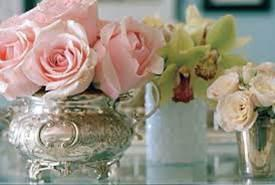 Using a silver water pitcher as a vase
