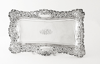 #93030 - Asparagus Dish by All Makers MAUSER #415 Footed Scroll & Floral Border without Liner mono AHS
