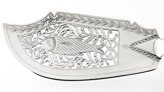 #94783 - English Silver-London by All Makers LONDON FISH SLICE PIERCED JAMES BEEBE mono