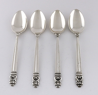 #89601 - Royal Danish by International TEASPOONS/SET 4 SPOONS  !SALE!