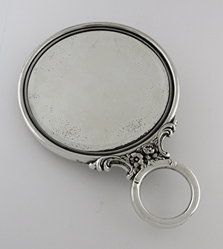 #92866 - Hand Mirror by All Makers MAUSER #15000 CHERUBS HAND MIRROR, monogrammed