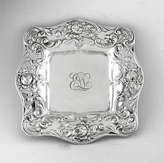 #92276 - Mint Dishes by All Makers GORHAM #A3180 SQUARE DRESDEN ROSE WITH MONO