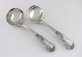 #92350 - English Silver-London by All Makers GRAVY LADLES Pair London c.1924