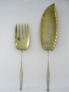 #10841 - Oval Twist by Whiting-Gorham FISH SERVING FORK & SLICE W/GW