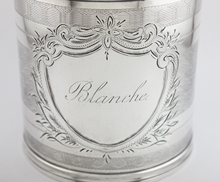 #24097 - Baby Cups-Antique by All Makers COIN #11 Engine Turn *Blanche