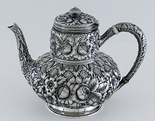 #37543 - 5-piece Tea & Coffee Sets by All Makers GORHAM #1333 5PC.REPOUSSE 1889