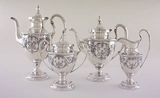 #61981 - Old Maryland Engraved by Kirk TEASET #4196-0 4-PIECE TEA & COFFEE