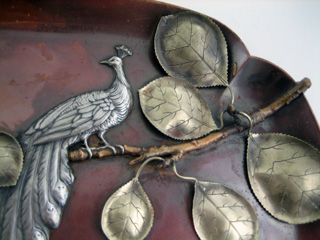 #65207 - Mixed Metal by All Makers GORHAM #Y75 TRAY W/PEACOCK