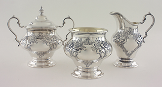 #7083 - 5-piece Tea & Coffee Sets by All Makers GORHAM #1001-1 5PC VICT HND CH