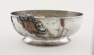 #86461 - Mixed Metal by All Makers WHITING #880 BOWL OVAL W/CRAB