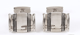 #90287 - Asa Blanchard Collection by Lexington Silver BARREL CUFFLINKS Pair
